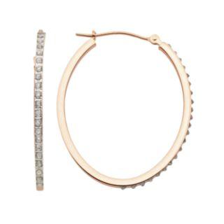 Diamond Fascination 14k Rose Gold Diamond Accent Oval Hoop Earrings
