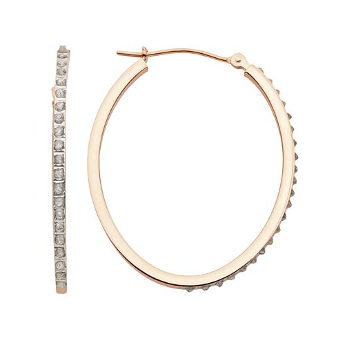 Diamond Fascination 14k Rose Gold Diamond Accent Oval Hoop Earrings