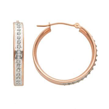 Diamond Fascination 14k Rose Gold Diamond Accent Hoop Earrings