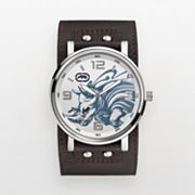 Rhino by Marc Ecko The Herd Silver Tone Leather Watch - E8M032MV - Men