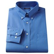 Croft and Barrow Blue Striped Slim-Fit Button-Down Collar Non-Iron Dress Shirt