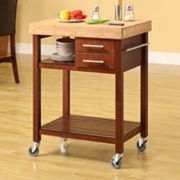 Linon Butcher Block Top Kitchen Cart