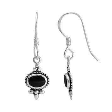 Sterling Silver Onyx Oval Bali Drop Earrings