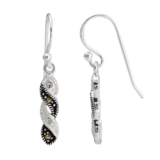 Sterling Silver Crystal and Marcasite Twist Drop Earrings