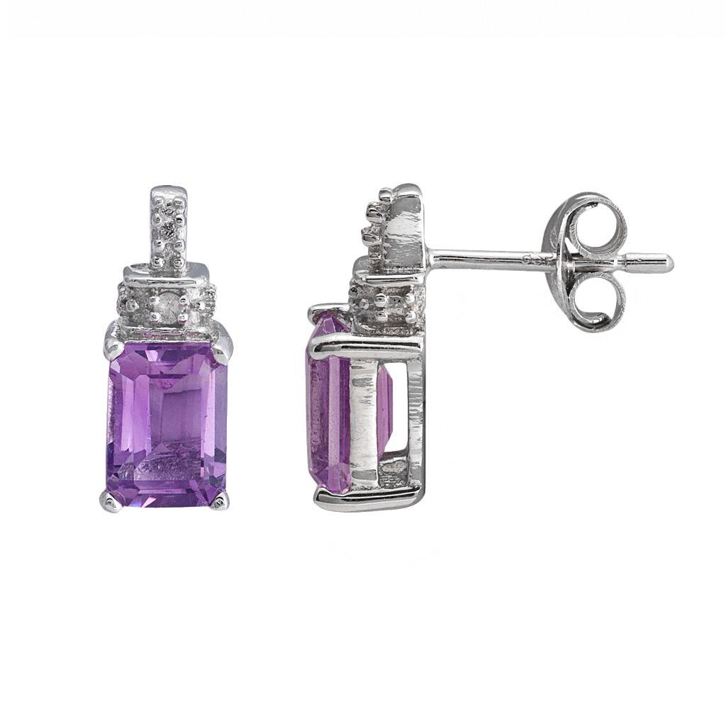 Sterling Silver Amethyst & Diamond Accent Drop Earrings