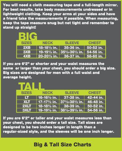 Big & Tall Size Charts