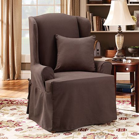 wingback chairs regular slipcovers - Slipcover For Wingback Chair