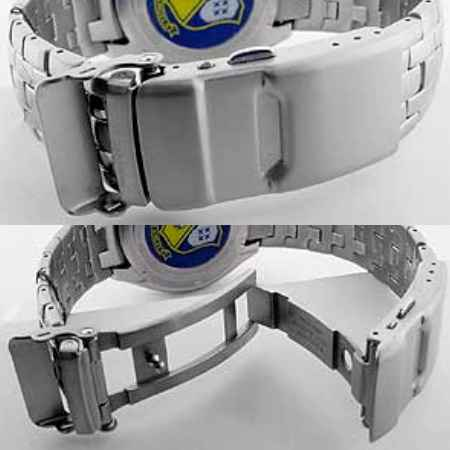 fold-over pushbutton deployment clasp