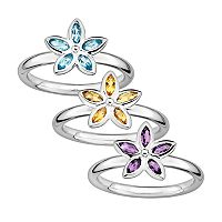 Stacks & Stones Gemstone Sterling Silver Flower Stack Ring