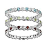 Stacks & Stones Gemstone & Diamond Accent Sterling Silver Stack Ring