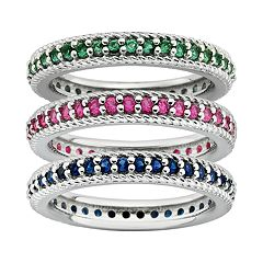 Stacks & Stones Lab-Created Gemstone Sterling Silver Eternity Stack Ring