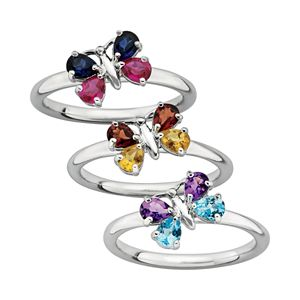 Stacks & Stones Gemstone Sterling Silver Butterfly Stack Ring