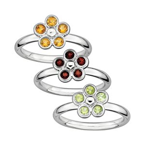 Stacks & Stones Gemstone Sterling Silver Flower Stack Ring