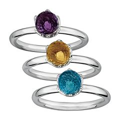 Stacks & Stones Gemstone Briolette Sterling Silver Stack Ring