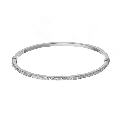 Diamond Fascination 14k White Gold Bangle Bracelet