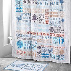 Avanti Beach Words Shower Curtain Collection