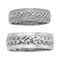 14k White Gold Braided Wedding Ring