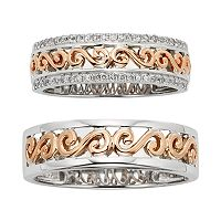 14k Gold Two Tone Scrollwork Wedding Ring