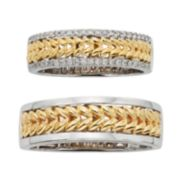 14k Gold Two Tone Herringbone Wedding Ring