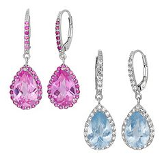 Lab Created Gemstone Sterling Silver Halo Teardrop Earrings