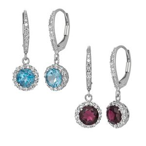 Gemstone & Lab-Created White Sapphire Sterling Silver Halo Drop Earrings