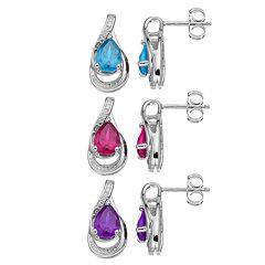 Sterling Silver Gemstone Teardrop Earrings