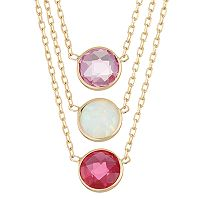 10k Gold Gemstone Circle Pendant Necklace