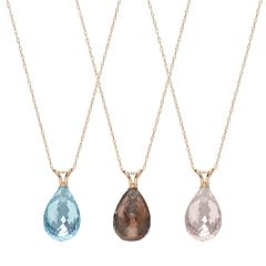 14k Gold Gemstone Briolette Pendant Necklace