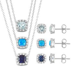 Sterling Silver Gemstone & Cubic Zirconia Halo Jewelry Set