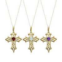 Gemstone 10k Gold Filigree Cross Pendant Necklace