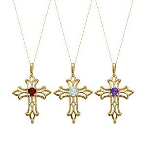 Gemstone 10k Gold Filigree Cross Pendant Necklace