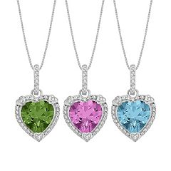 Gemstone & Diamond Accent Sterling Silver Heart Pendant Necklace
