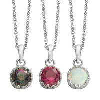 Gemstone Sterling Silver Pendant Necklace