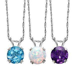 Gemstone 10k White Gold Pendant Necklace