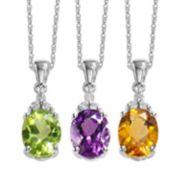 Gemstone & Diamond Accent 10k White Gold Pendant Necklace