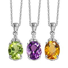 Gemstone & Diamond Accent 10k White Gold Pendant Necklace