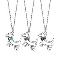Gemstone & Diamond Accent Sterling Silver Dog Pendant Necklace