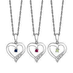 Gemstone & Cubic Zirconia Sterling Silver Heart Pendant Necklace