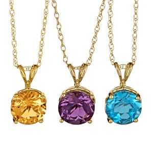 Gemstone 14k Gold Pendant Necklace