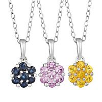 Gemstone Sterling Silver Cluster Pendant Necklace