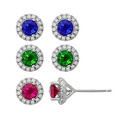 Gemstone & 1/6 Carat T.W. Diamond Sterling Silver Halo Stud Earrings