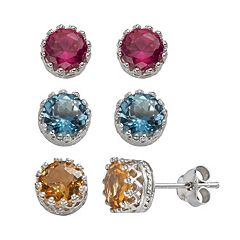 Gemstone Sterling Silver Stud Earrings