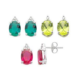 Gemstone & Diamond Accent 10k White Gold Stud Earrings