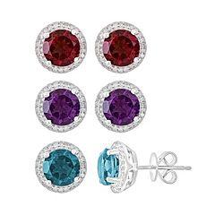 Gemstone & 1/6 Carat T.W. Diamond Sterling Silver Frame Stud Earrings