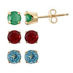 Gemstone 14k Gold Stud Earrings - Kids