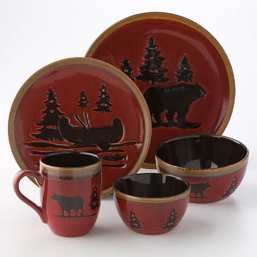home studio woodland dinnerware red