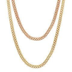 14k Gold Over Silver Popcorn Chain Necklace