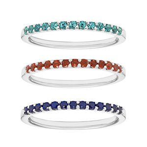 14k White Gold Gemstone Stackable Ring
