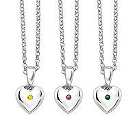 Little Diva Diamonds Kids' Sterling Silver Gemstone Heart Pendant