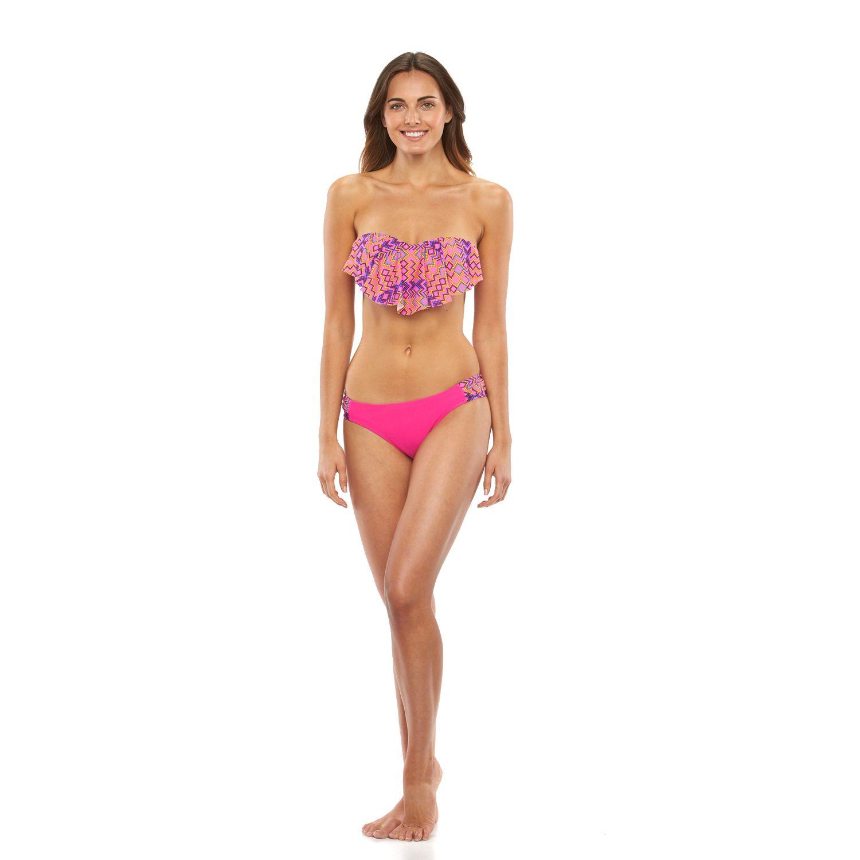 Womens Pink Envelope Southwest Flounce Bikini Swim Separates